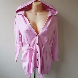 Peony Button Down Hooded Top Cardigan